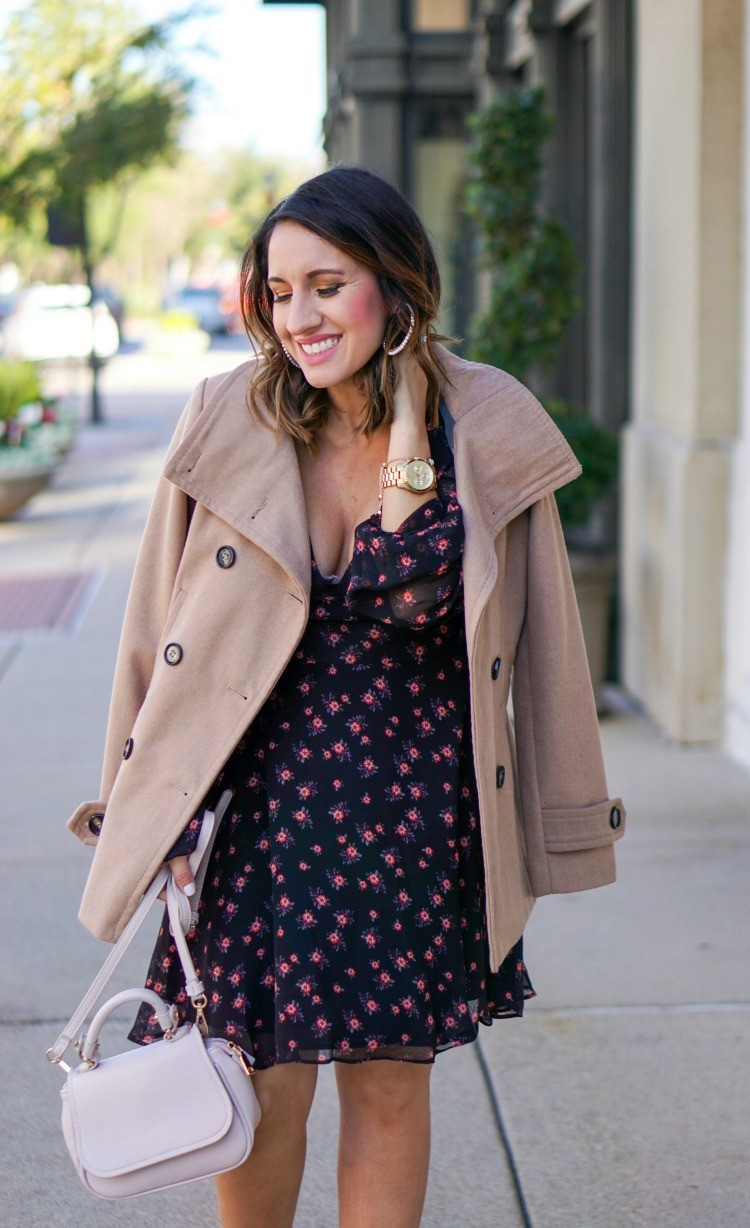 Pearl Earrings, Camel Coat, and black and print floral dress