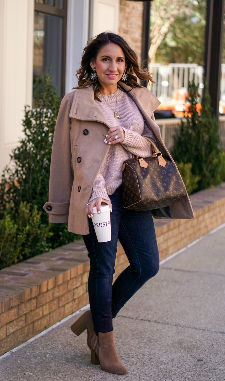 Camel Coat, Blush colored sweater, dark jeans and booties