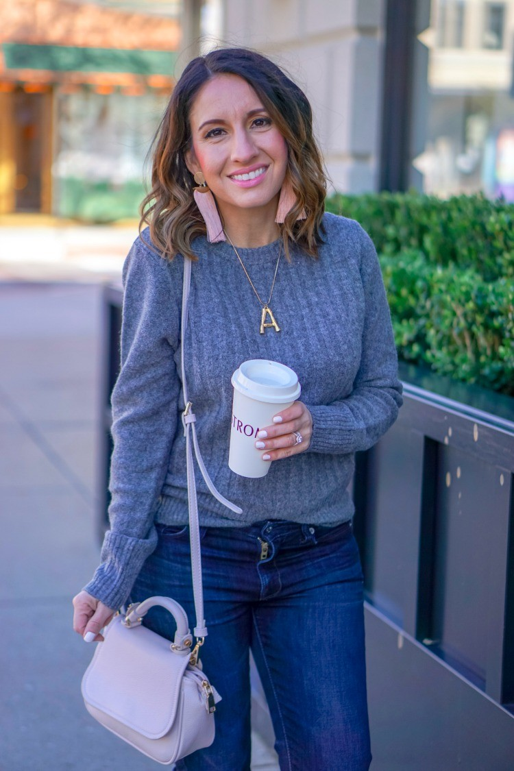 Cute Grey ribbed sweater and statement earrings