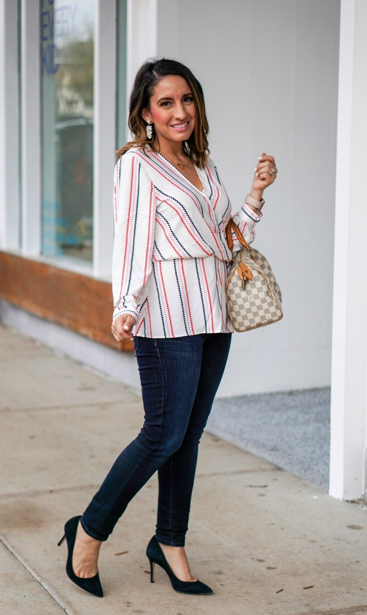Dressy Blouse, Skinny Jeans, Heels, and Louis Vuitton Handbag
