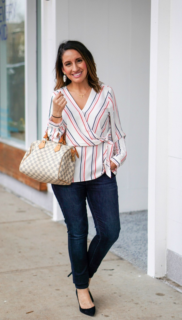 Faux Wrap Blouse, Skinny Jeans and Heels
