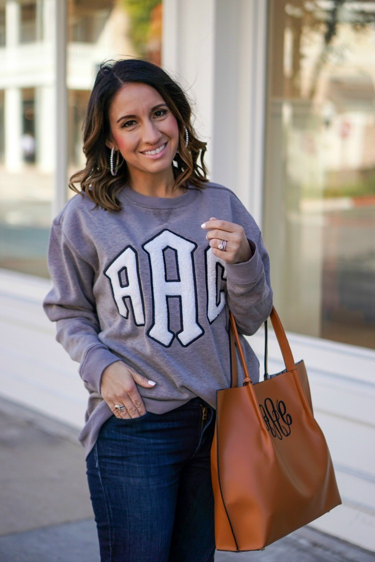 Marely Lilly Monogrammed Letterman Sweatshirt and pearl hoops