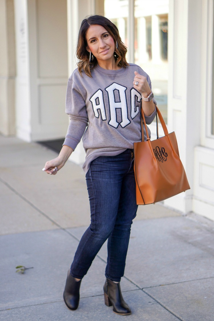 Marley Lilly Letterman sweatshirt and monogrammed tote
