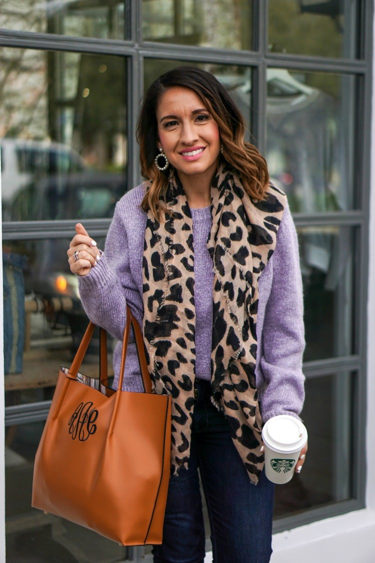 Animal Print Scarf, Lavender Sweater, Dark Jeans, and MarlyLilly Purrse