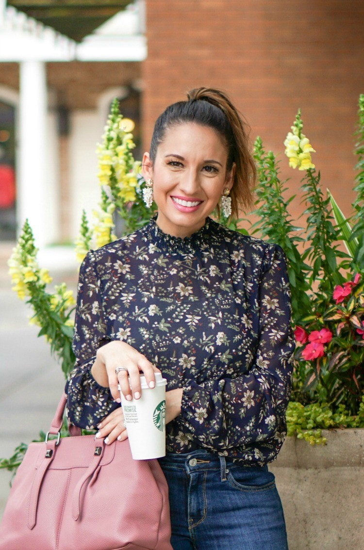 Floral Blouse and statement earrings
