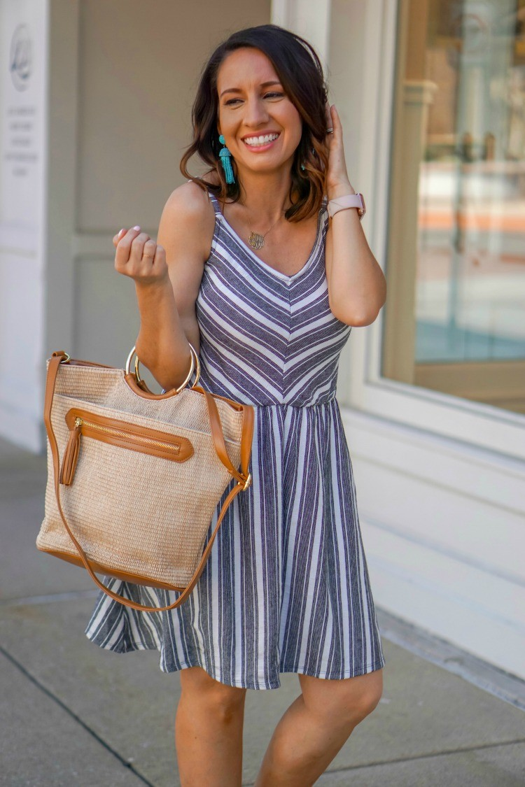 Black and white striped dress and the cutest $22 handbag