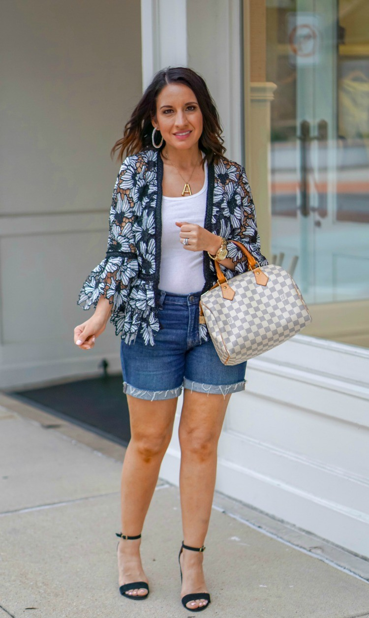 Chicwish cardigan, tank top, jean shorts, and heels
