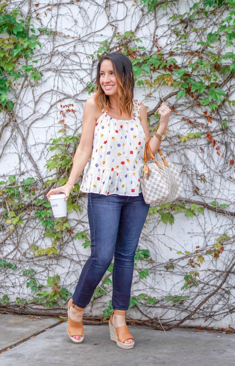 Floral Cami, skinny jeans, and nude wedges