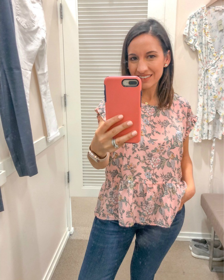 Floral Peplum Top and skinny jeans