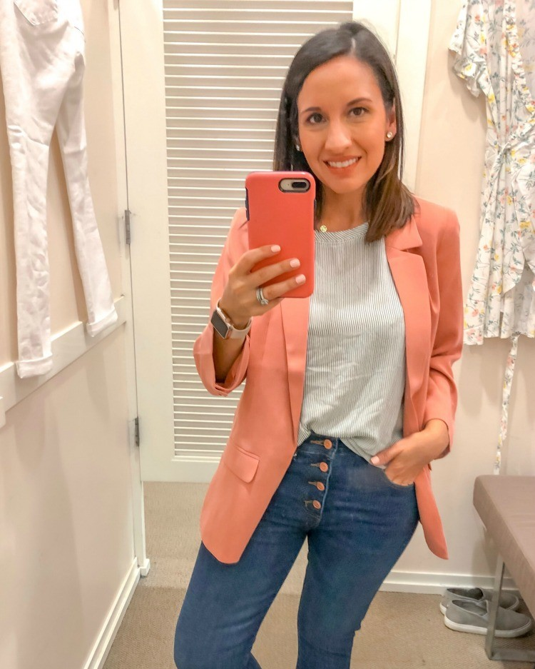 Pink Blazer, Stripe Top, and Button Down Jeans