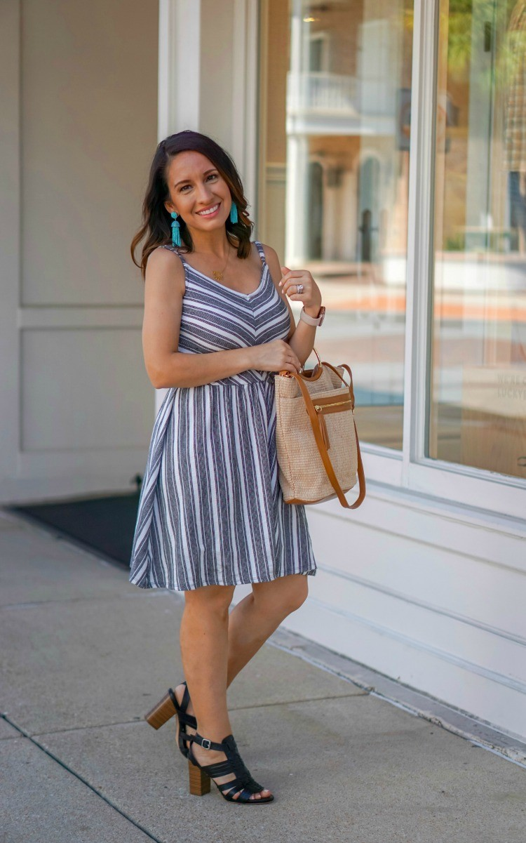 The Cutest V-Neck Striped Dress that's under $20