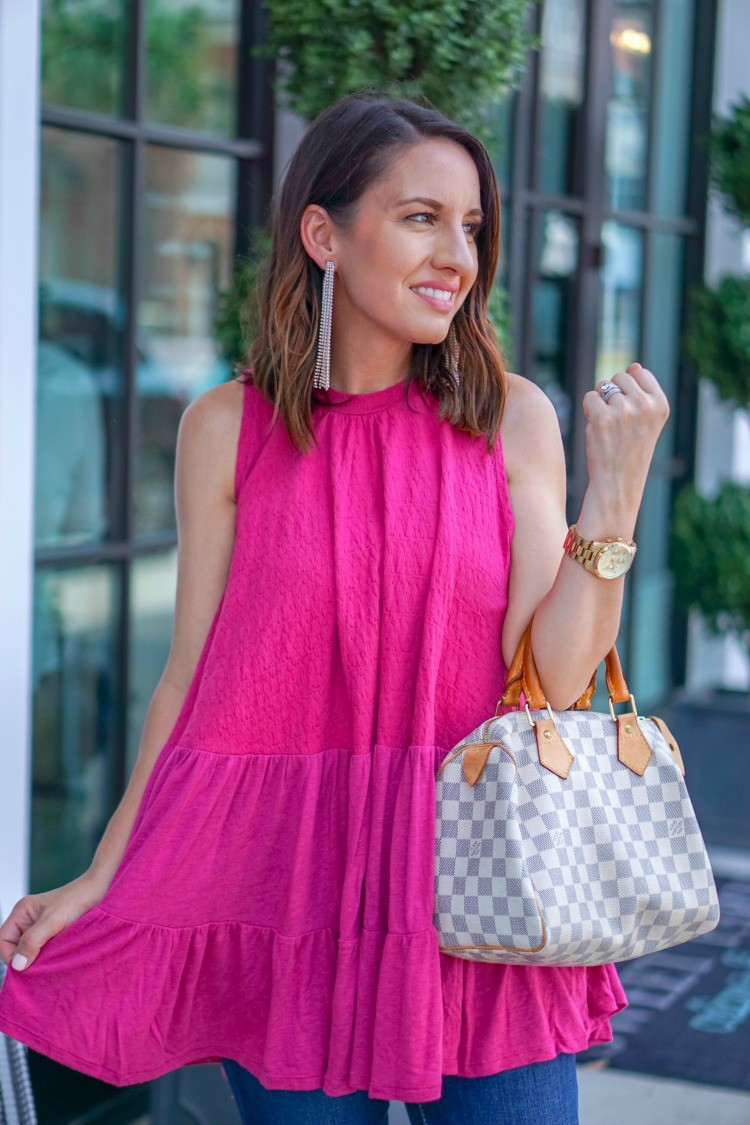 Cute Pink Top and Statement Earrings