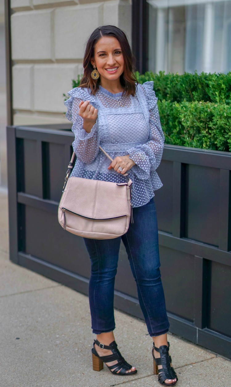 Light Purple top and skinny jeans