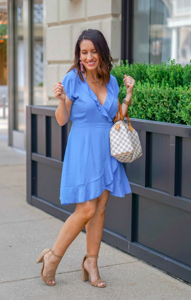 Light blue Sunday Morning Wrap Dress and heels