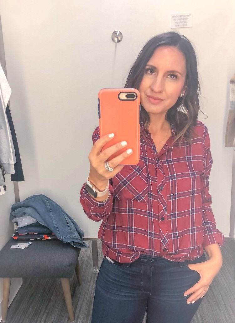 Cranberry Plaid Shirt and Skinny Jeans