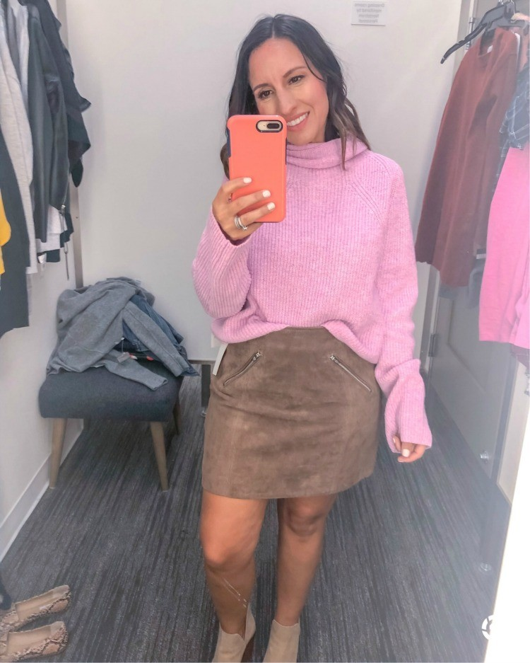 Cute turtle neck sweater and suede skirt