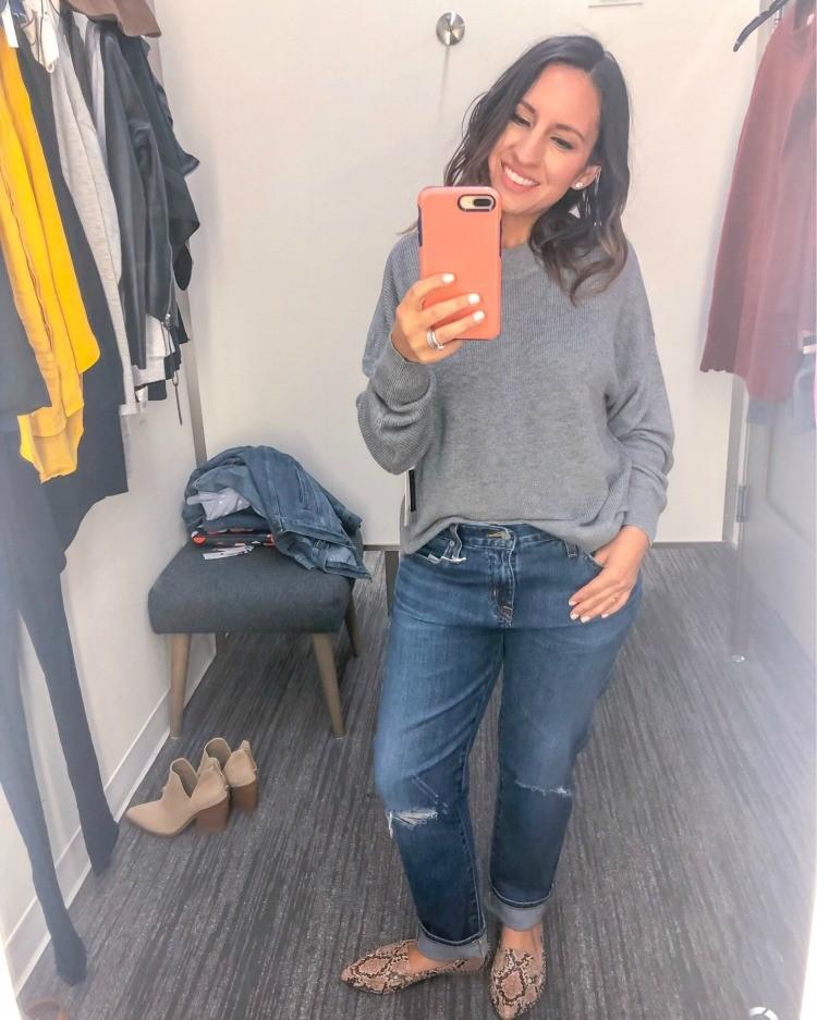 Grey sweater and Ex Boyfriend Jeans