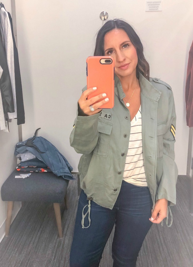 Military Jacket, stripe tee, and skinny jeans
