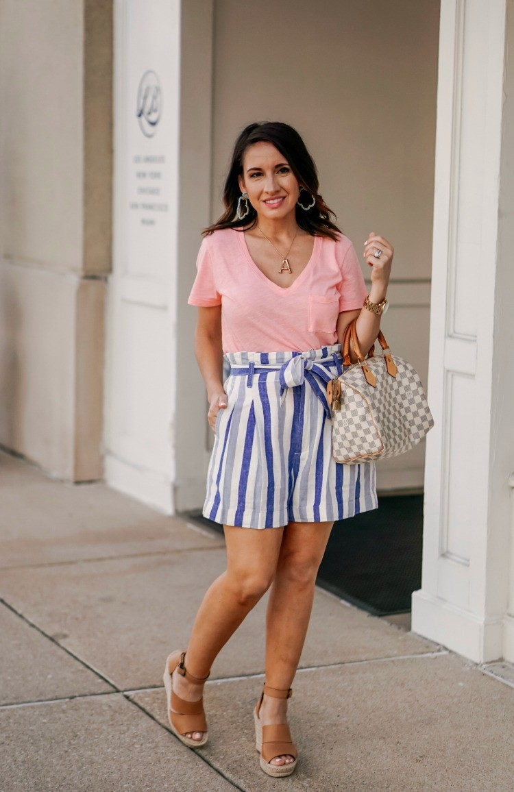 V Neck T-Shirt and Madewell Paperbag shorts