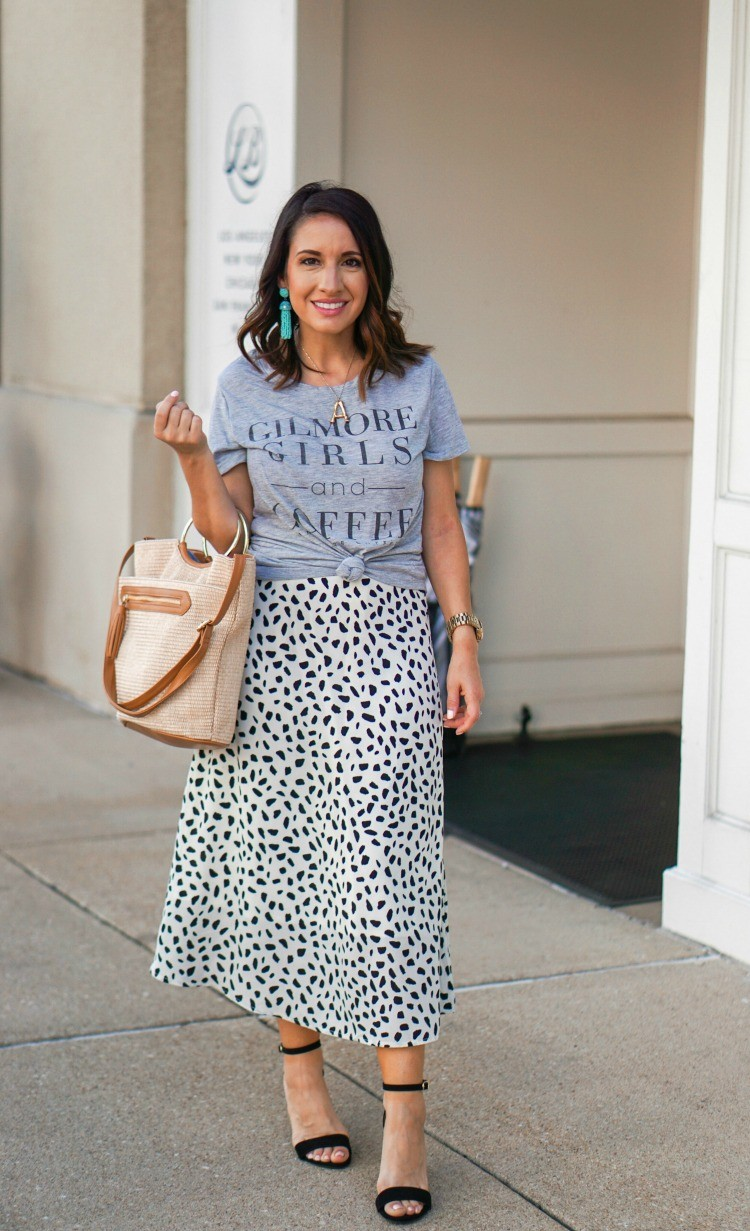 Gilmore Girls Tee and Animal Print Skirt