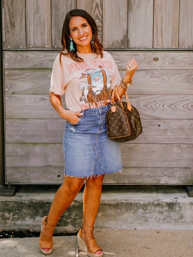 Rock band tee, denim skirt, and wedges