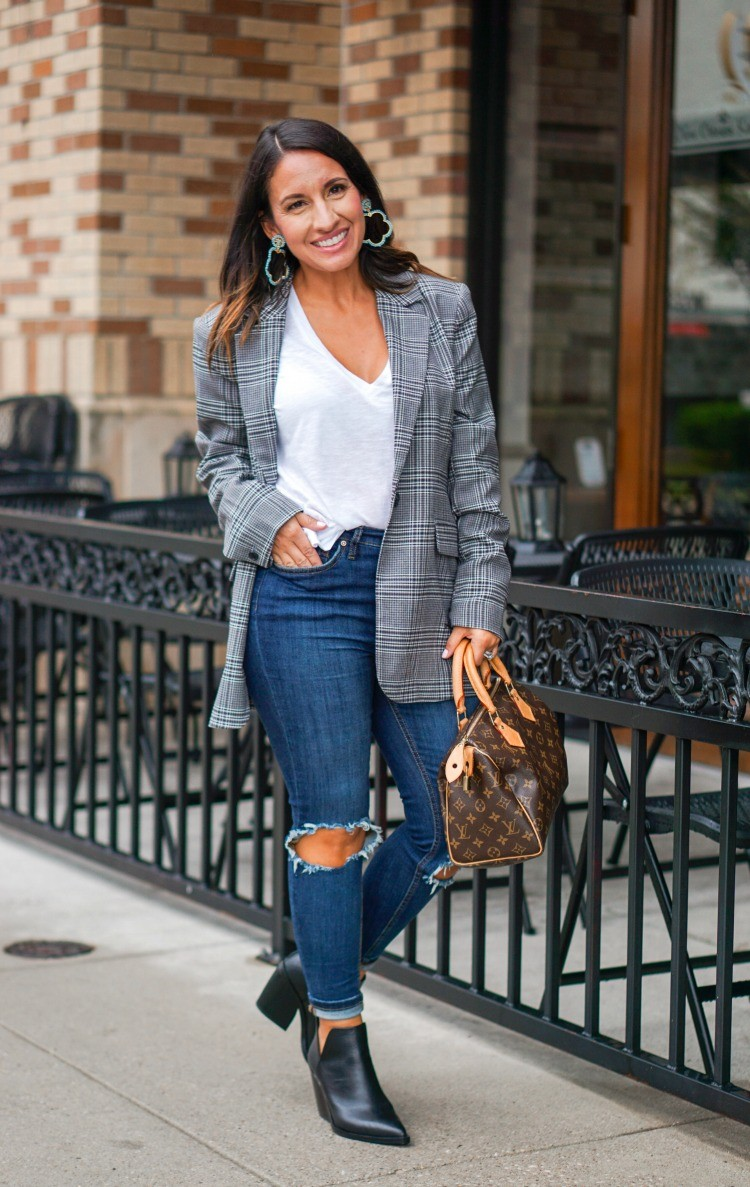 Cute Blazer, T-Shirt, and Jeans