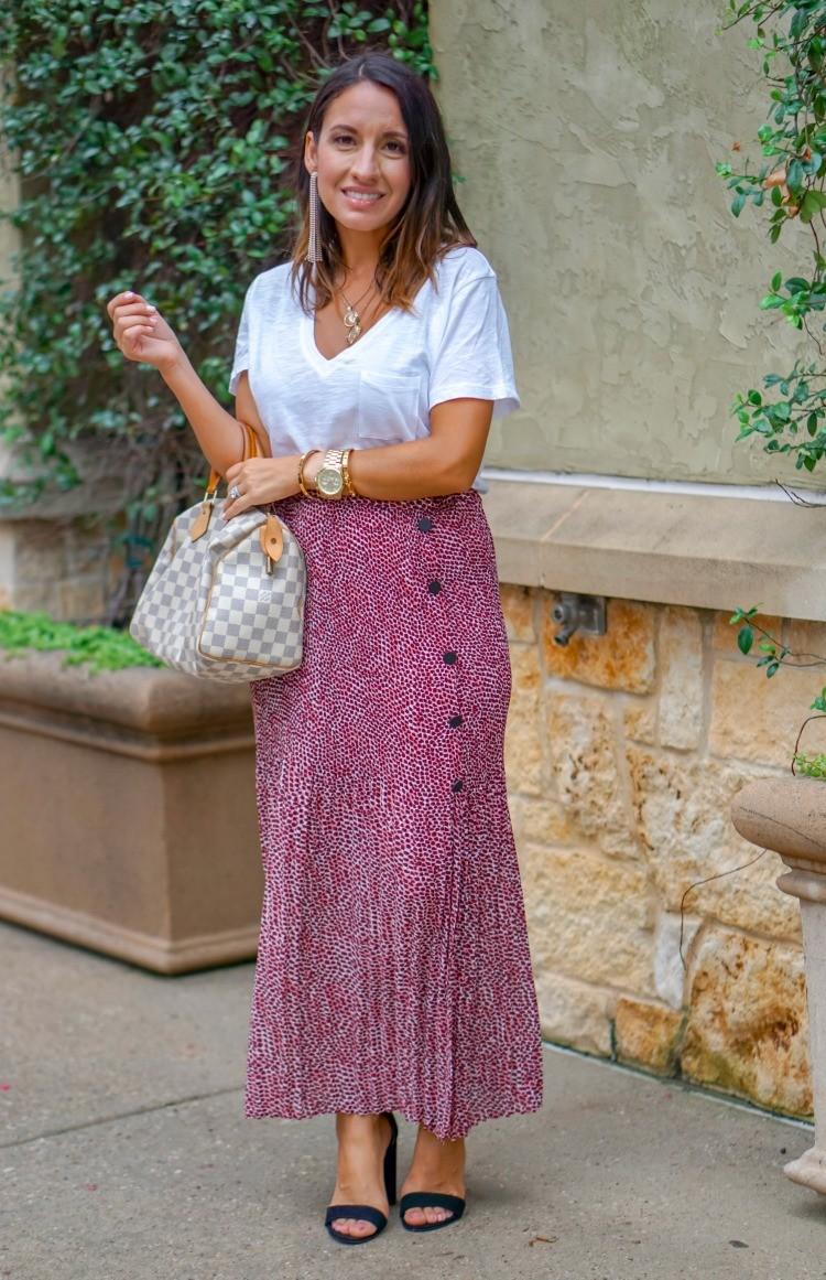 Great Basic T-Shirt, Animal Print Skirt, and black heels