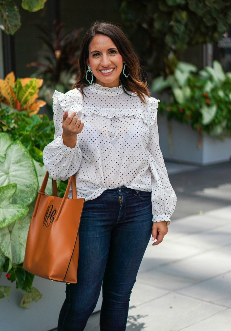 Lisi Lerch Earrings, Madewell Blouse, and Lucky Brand Jeans
