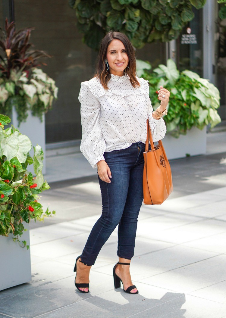 Polka dot ruffle blouse, skinny jeans, and heels