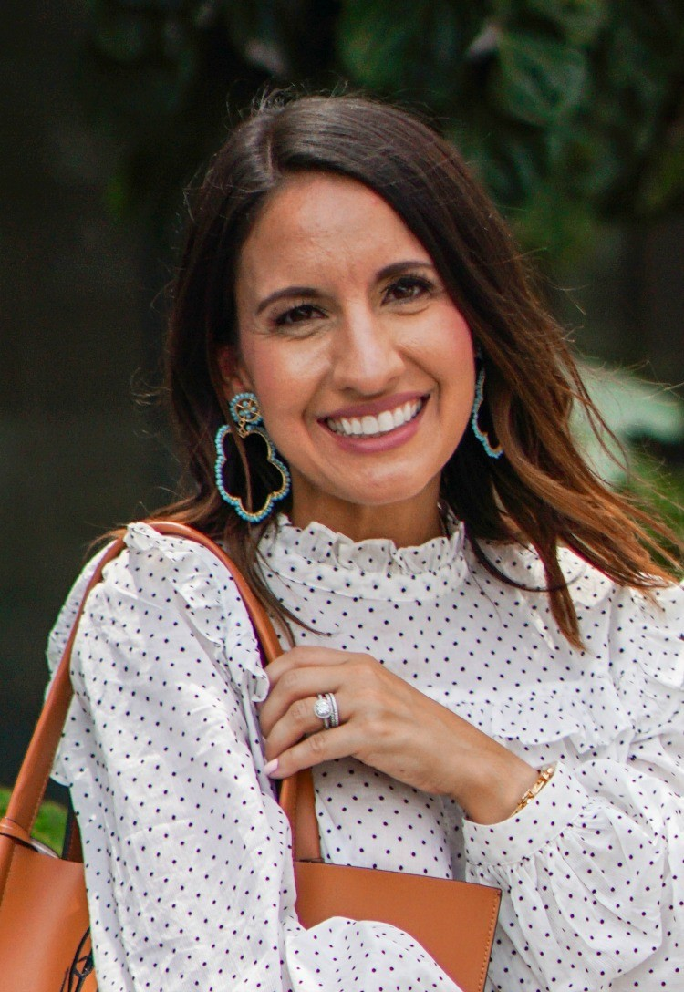 Statement Earrings and Polka dot and ruffle blouse