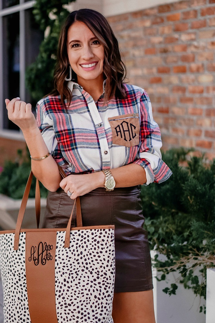MarleyLilly Monogrammed Plaid Tunic and Leopard Tote