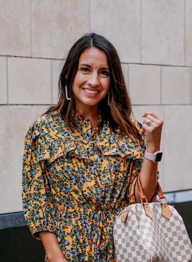 Pretty Floral Ruffle Dress and Handbag