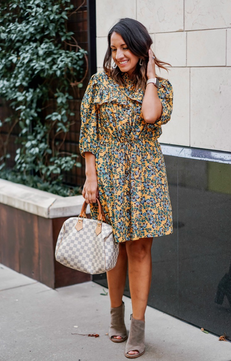 TopShop Yellow and Blue Floral Dress