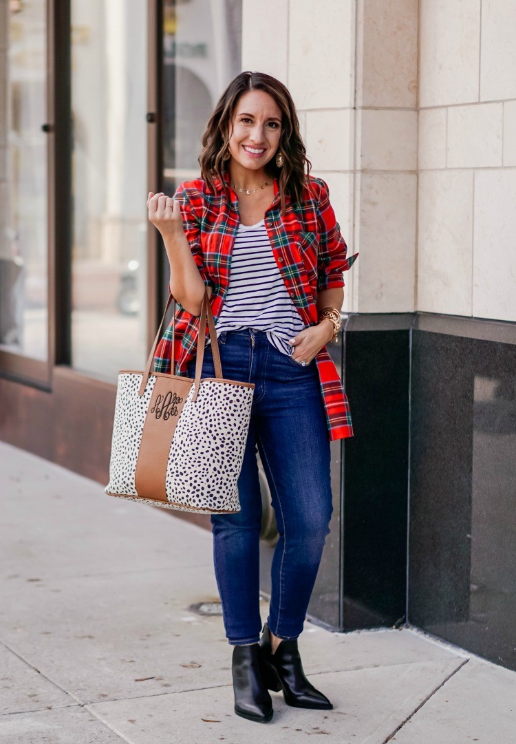 Tartan Flannel button down and dark skinny jeans