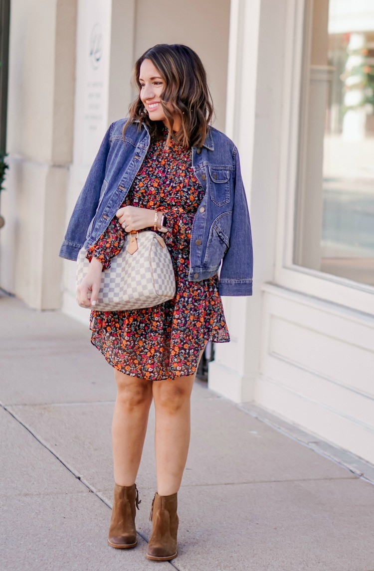 Cute Floral Dress and Jean Jacket